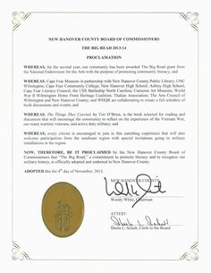 Community proclamation of The Big Read. Courtesy of Cape Fear Museum.