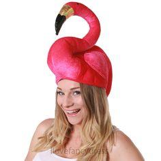 PINK FLAMINGO HAT TROPICAL BIRD HAWAIIAN FANCY DRESS BEACH POOL SUMMER PARTY