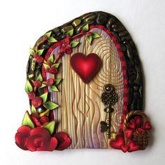 Basket of Hearts Valentine Fairy Door Miniature Polymer Clay Door by Claybykim on Etsy