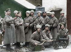 New colour images of Russian Revolution including Lenin and Tsar Nicholas II Russian Revolution 1917, February Revolution, Imperial Army, Imperial Russia, World War One, First World, Trauma, Colorized Photos, Tsar Nicholas Ii