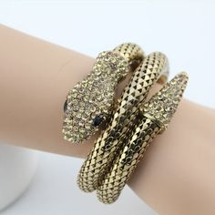 European Retro Punk Rock Style Crystal Snake Bangle Bracelet