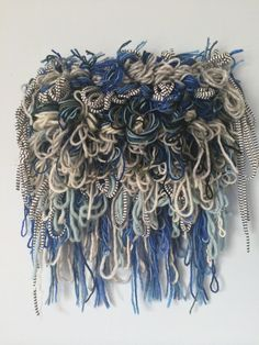 Hand Woven Wall Hanging, Shaggy Blue Beastie Weaving by bourbongin on etsy