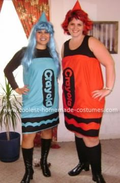 Crayola Crayons Halloween Costume: We wanted to be something different but yet as a group. It ended up being the two of us. This Crayola crayons Halloween costume was something decent, cute