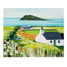 Aberdaron open edition print by Janet Bell. Available from Janet Bell Gallery, Beaumaris, Isle of Anglesey Landscape Artwork, Landscape Illustration, Boat Illustration, Bell Art, Naive Art, Art Oil, Painting & Drawing, Watercolour Painting, Painting Inspiration