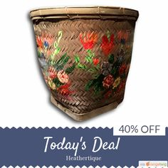Today Only! 40% OFF this item. Follow us on Pinterest to be the first to see our exciting Daily Deals. Today's Product: Sale -  Huge Hand Painted Bamboo Basket Olive Green Storage Fireplace Decor Buy now: https://orangetwig.com/shops/AABdT38/campaigns/AACmnzZ?cb=2016006&sn=Heathertique&ch=pin&crid=AACmnnw&exid=241048622&utm_source=Pinterest&utm_medium=Orangetwig_Marketing&utm_campaign=05-02-16   #vintagefurnitureonline #homedecor