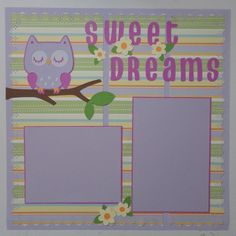 """Baby Girl """"Sweet Dreams"""" Owl pre-made Scrapbook Page"""