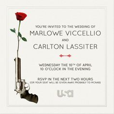 You're invited to the wedding of Marlowe & Carlton! Get ready for the #PsychWedding.