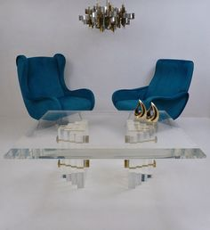 Charles Hollis Jones table, Lucite & brass, 1980's ca, American @ www.roomscape.net