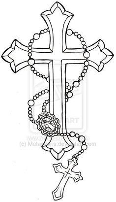 Cross with Rosary Tattoo by Metacharis.deviantart.com on @deviantART