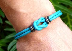 Turquoise Leather Bracelet Mini Celtic Infinity Knot Love Knot