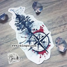Trash polka compass with pine tree - available here #TattooIdeasForearm