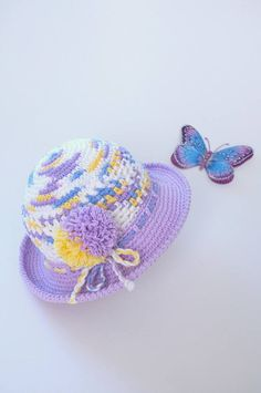 Baby Toddler Girl Sun Hat Baby Shower Gift Newborn Baby Foto Props Crochet Summer Hat Infant Girls Cotton Panama Cute Hats by Mila-Baby Toddler Girl Sun Hat Baby Shower Gift Newborn Foto Props Crochet Summer Hat Infant Girls Cotton Panama Cute Hats by Mila  Bright and colorful this summer hat is crocheted with melange cotton yarn and decorated with pom pom of matching colors. Wide hat brim will keep your daughters