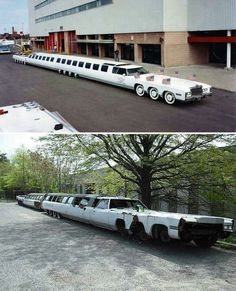 This is the longest car in the world: a Cadillac Eldorado. It was built in the and abandoned in Cadillac Eldorado, Custom Trucks, Custom Cars, Classic Trucks, Classic Cars, Weird Cars, Crazy Cars, Abandoned Cars, Unique Cars