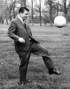 Framed Photo. Ferenc Puskas of Real Madrid football club kicking