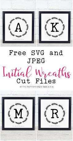 free svg and jpeg initial wreath files Cricut Monogram, Free Monogram, Cricut Fonts, Svg Files For Cricut, Free Svg Files Monogram, Free Printable Monogram, Monogram Wall Decals, Cricut Air, Cricut Vinyl