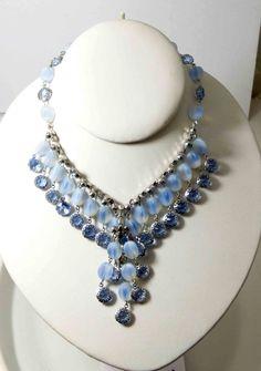 Vintage Alice Caviness Fringe Bib Blue Opalescent Art Glass Oval Rhinestone Necklace - Vintage Lane Jewelry - 3