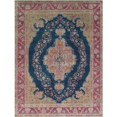Shop for Vintage Distressed Zouhir Blue/Red Wool Hand-knotted Area Rug (9' 7 x 12' 4). Get free shipping at Overstock.com - Your Online Home Decor Outlet Store! Get 5% in rewards with Club O! - 21844886