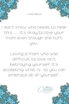 I don't know who needs to hear this....It's okay to love your mom even though she hurt you.Loving a mom who was difficult to love isn't betraying yourself.It's accepting what is, so you can embrace all of yourself. #mother #mom #momanddaughter #family #healthyrelationships #trauma #traumarecovery #selfcompassion #selfcare #realselfcare #affordableselfcare #affordabletherapy #mentalhealthadvocate #lifecoach #lifecoaching Holistic Care, Holistic Healing, Soul Healing, Crystal Healing, Psychic Development, Mental Health Conditions, Clear Your Mind, Spiritual Awareness, Self Compassion
