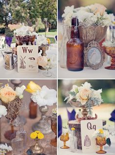 1920's- wedding decor ideas.... I have a ton of old bottles that are all different I'd like to use