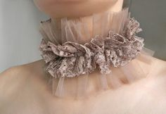 Beige Taupe High Collar Edwardian Queen Collar by Elyseeart Ruff Collar, Lace Collar, High Collar, Circus Fashion, Taupe, Beige, Steampunk Costume, Textile Jewelry, Lace Ribbon