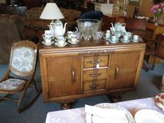 sideboard and glassware