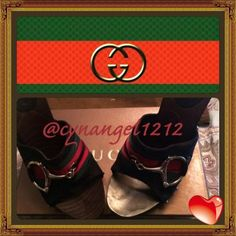 Gucci horsebit heels Gucci black logo sandal stud clog with wooden high heel  about 4 inches tall with gold studs and the beautiful classic Gucci horsebit red- green design and gold buckle.  Used with some sigh a of normal wear and tear on the heal. I got pregnant and they now fit me small.  Great condition! Gucci Shoes Heels