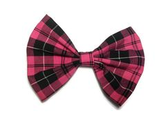 Pink and black plaid fabric hair bow. Great for sock bun hair styles.