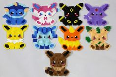 Handmade Eeveelution Pokemon perler bead sprites. Each Eevee is created with mini perler fuse beads that melt together after being heated. You can choose between one, multiple or the whole set. These are all handmade made-to-order products, so please allow 2-3 business days for your order to process. With being handmade, each one always comes out slightly different, but I will do my best to make them all look like the ones shown in the photos above. I can currently make these into a…