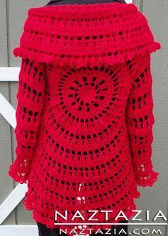 Free Pattern - Crochet Circle Sweater Pattern from Drops in brown or a teal! Gilet Crochet, Crochet Coat, Crochet Jacket, Crochet Shawl, Crochet Clothes, Crochet Sweaters, Crochet Shrugs, Crochet Cardigan Pattern, Chrochet