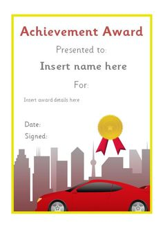 Editable car themed certificate. #teachingresources
