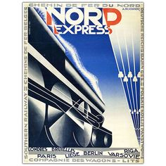 Nord Express by Adolphe Cassandre-Framed 24x32 Canvas Art