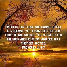 Proverbs Speak up for those who cannot speak for themselves; ensure justice for those being crushed. Yes, speak up for the poor and helpless, and see that they get justice. Niv Bible, Bible Verses, New Living Translation, Proverbs 31, See It, Christ, Crushes, Spirituality, Wisdom