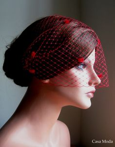 Red Fascinator Hat With Birdcage Veil By Madamemerrywidow 40 00 Miss Scarlet Ideas Pinterest Hats Veils And