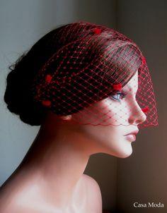 red birdcage veil