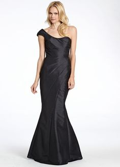 Black dupioni soft fluted bridesmaid gown, strapless sweetheart neckline, asymmetrical seams Bridesmaids Dresses: Junior, Maternity & Flower Girl Dresses by Jim Hjelm Occasions - Bridesmaids and Special Occasion Style jh5529 by JLM Couture, Inc.