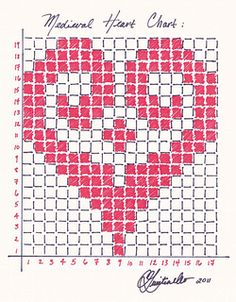 This is a chart for a heart motif that can be used in fair-isle knitting, filet . This is a chart for a heart motif that can be used in fair-isle knitting, filet crochet, or anywhere a counted stitch ca. Knitting Charts, Knitting Stitches, Knitting Patterns, Crochet Patterns, Crochet Borders, Crochet Squares, Sock Knitting, Fair Isle Knitting, Knitting Machine