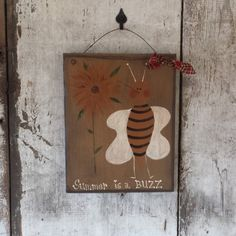 Primitive Country Bee Summer With SunflowersSummer DecorPrimitive BeeCountry BeePrimitive DecorCountry DecorPainted