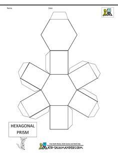basic geometric shapes hexagonal prism net tabs
