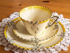 Fabulous Art Deco Burleigh Ware trio with golden yellow and grey, Bow Pattern, Pattern Art, Golden Yellow, Green And Orange, Light Cream, Cake Plates, Afternoon Tea, Kettle, 1930s