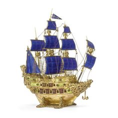 A Continental Silver-gilt, Enamel and Gem-set Nef, probably Hungarian, 20th century with four-mast nef with quilted blue enamel sails and burgee