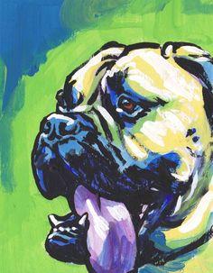 Bullmastiff portrait art print modern Dog pop art bright colors giclee print by BentNotBroken on Etsy Dog Pop Art, Dog Art, Portrait Art, Dog Portraits, Dog Paintings, Original Paintings, Dog Illustration, Sketch Painting, Watercolor Animals