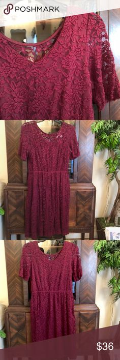Burgundy Lace Dress Rounded neck on the front of this lace dress connects to princess style lined neckline, bodice and skirt. Sleeves are unlined, and the back neckline is a slight V. It's super comfy – stretchy and easy to care for. Will it be your next Valentines, or date night, or bridesmaid dress, or just be cute at whatever event you are in the mood to wear it to?! American Rag Dresses