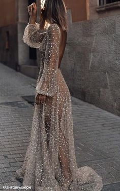 White Sequin Glitter Backless V-neck Long Sleeve Elegant Banquet Wedding Gowns Maxi Dress Evening Dresses, Prom Dresses, Formal Dresses, Fashion Mode, Daily Fashion, Girl Fashion, Style Fashion, Fashion Ideas, Pinterest Fashion