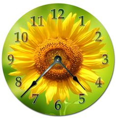 """SUNFLOWER CLOCK Extra Large 15.5"""" to 16"""" Wall Clock - 2059-16"""