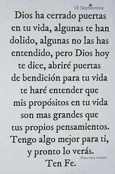 TEN FE EN NUESTRO PADRE CELESTIAL GUDELIA Biblical Quotes, Bible Verses Quotes, Faith Quotes, Wisdom Quotes, True Quotes, Gods Love Quotes, Quotes About God, Spanish Inspirational Quotes, Catholic Prayers