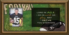Football Photo Frame Keep memories of that sports star in the family with this easel back photo frame with declaration that in all we do we serve God every day.