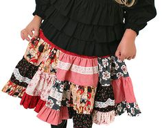 Embellished Patchwork Twirl Skirt