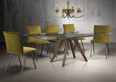 """Soul 40""""x 84"""" table in Champagne and Smoke Solid Oak, with a Clear glass top; Envy chairs in Champagne."""