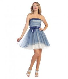 Blue & Ivory Strapless Sequin Ombre #Homecoming Dress #uniqueprom