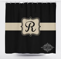 Black And Tan Monogrammed Shower Curtain   Classy Bathroom Shower Curtain    Guest Bathroom By PAMPERYOURSTYLE
